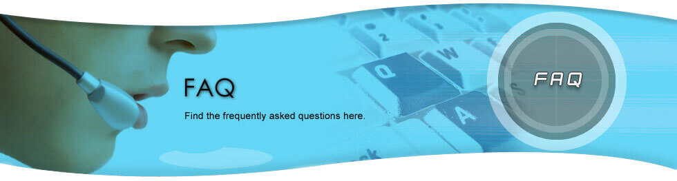 Phone Operator with Headset on blue background with keyboard keys fading in; the letters FAQ displayed prominently.