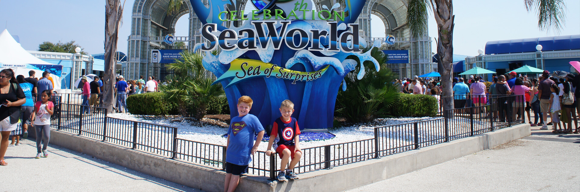 Kids in front of Sea World in San Antonio, Texas